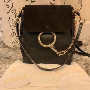 Authentic Chloe Faye Backpack Small Black